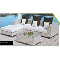 Decorative Wicker Light Brown Garden Sofa Set(1 three seater + 1 table + 1 side table)