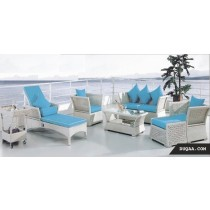 Decorative Wicker White Garden Outdoor Sofa Set(Full Set )