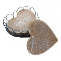 Decorative Wooden Heart Coasters With Wire Basket