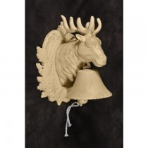 Deer Design Cream Finish Cast Iron Garden Bell