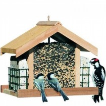 Deluxe Wooden Hanging Bird Feeder