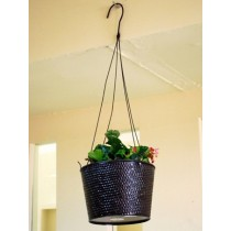 Designer Black Round Hanging Planter
