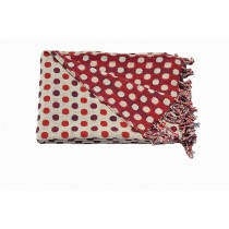 Designer Dotted Cream & Red Throw