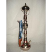 Designer Golden Finish Brass Single Hookah