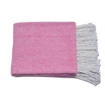 Designer Pink with Fringes Throw