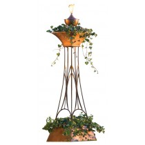 Double Tier Copper Planter with Garden Torch