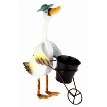 Duck Pushing Cart Design 7 Inch Metal Planter