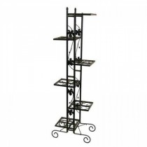 Durable 6-Level Black Metal Plant Stand