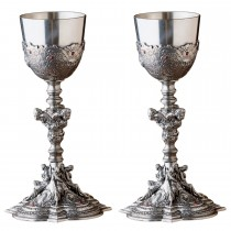 Durable Antique Pewter Goblet Set of 2 Pcs