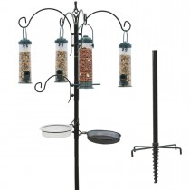 Durable Black Finish Metal Bird Feeding Station Kit