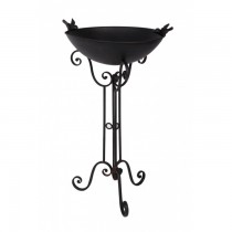 Durable Black Iron Bird Bath And Stand