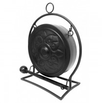 Durable Black Powder Coated Steel Gong With Stand