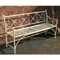 Durable Cream Finish Iron Garden Bench