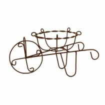 Durable Finish Metal Wheelbarrow Design Plant Stand