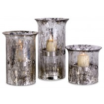 Durable Glass And Iron Candle Holder Set of 3 Pcs