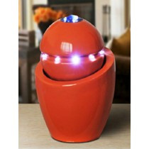 Durable Red Column With Sphere Shape Led Water Fountain