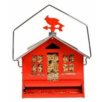 Durable Red Plastic Hanging Bird Feeder
