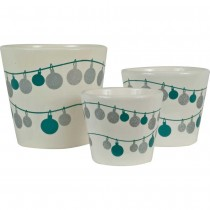Durable Round Ceramic Planter Set of 3 Pcs