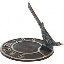 Durable Round Flat Brass Sundial With Bird