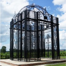 Durable Scroll and Leaf Design Black Finish Metal Gazebo