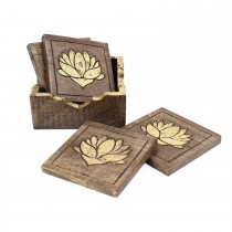 Durable Wooden Coasters Set of 4 Pcs