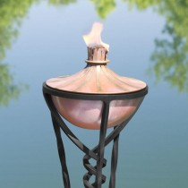 Elegant Copper Garden Torch With Floor Stand