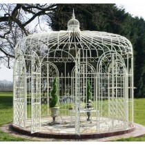 Elegant Design Cream Finish Metal Gazebo