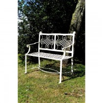 Elegant Design White Finish Metal Garden Bench