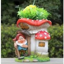 Elegant Red Mushroom Gnome Garden Planter
