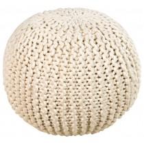 Elegant Round Wool Knit Floor Pouf