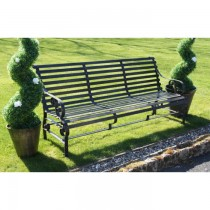 Elegant Rustic Brown Finish Iron Garden Bench