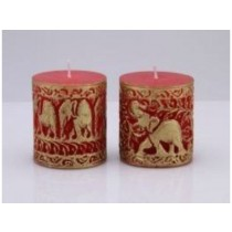 Elephant Design on Red  Pillar  candle