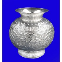 "Embossed 12"" Silver Pitcher Design Flower Vase"