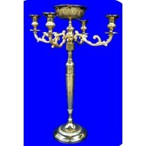 Embossed Aluminium Candle Stand, 34 Inches
