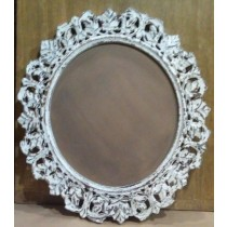 Round Embossed Frame Whitewashed Wood Photo Frame