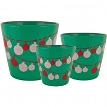 Emerald Green Round Ceramic Planter Set of 3 Pcs