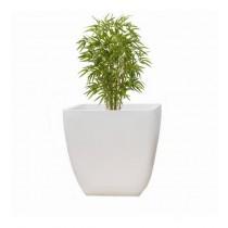 White Round Polystone 14 Inch Planter
