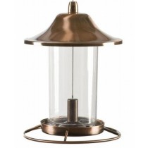 Eye-Catching Copper Finish Hanging Bird Feeder