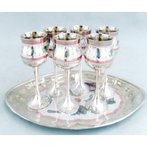 Fine Engraved Meena Goblet Set With Tray, 12 Inches