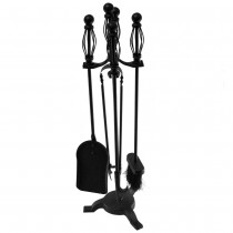 Fireside Black Companion Set With Cage Handles