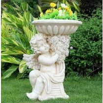 Floored Angel Holding Decorative Garden Flower Pot