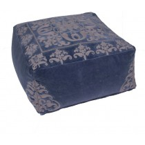 Floral Pattern Blue Cotton Pouf