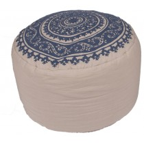 Floral Pattern Natural and Blue Cotton Pouf