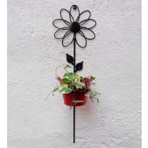 Flower Design Bracket with Red Bucket Planter