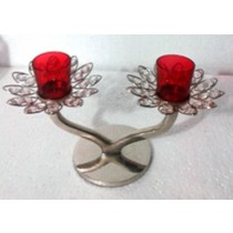 Flower Shape 2 Arms Red Glass Votive Candle Holder