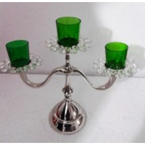 Flower Shape 3 Arm Green Glass Votive Candle Stand(36 X 12 X 32 Cm)