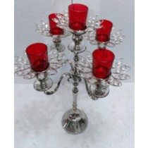 Flower Shape 5 Arm Red Glass Votive Candle Stand