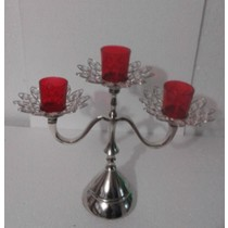 Flower Shape Crystal 3 Arm Red Votive Glass Candle Holder(40 X 15 X 32 CM)