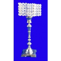 Fluted Candle Stand With Square Base, 16 Inches