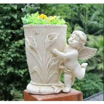 Flying Baby Angel Polyresin Garden Planter